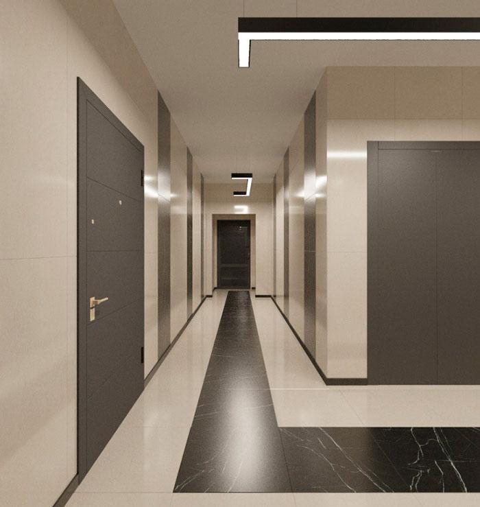 Коридор между квартирами, на этаже