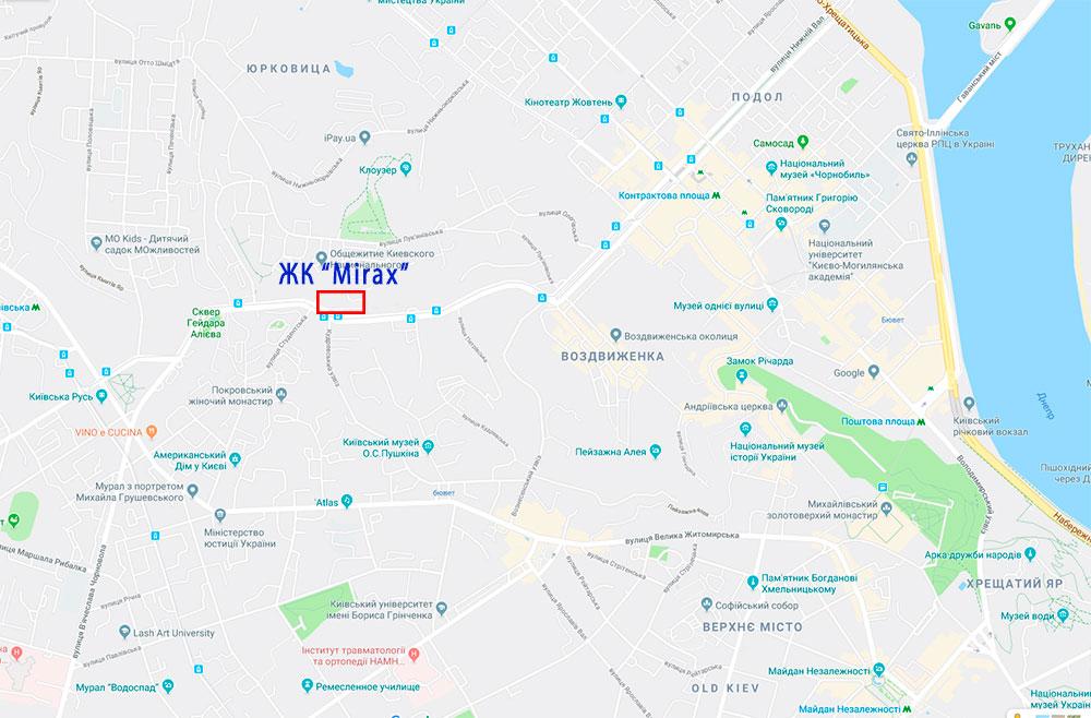 ЖК «Миракс» расположен по адресу ул. Глыбочицкая, 43