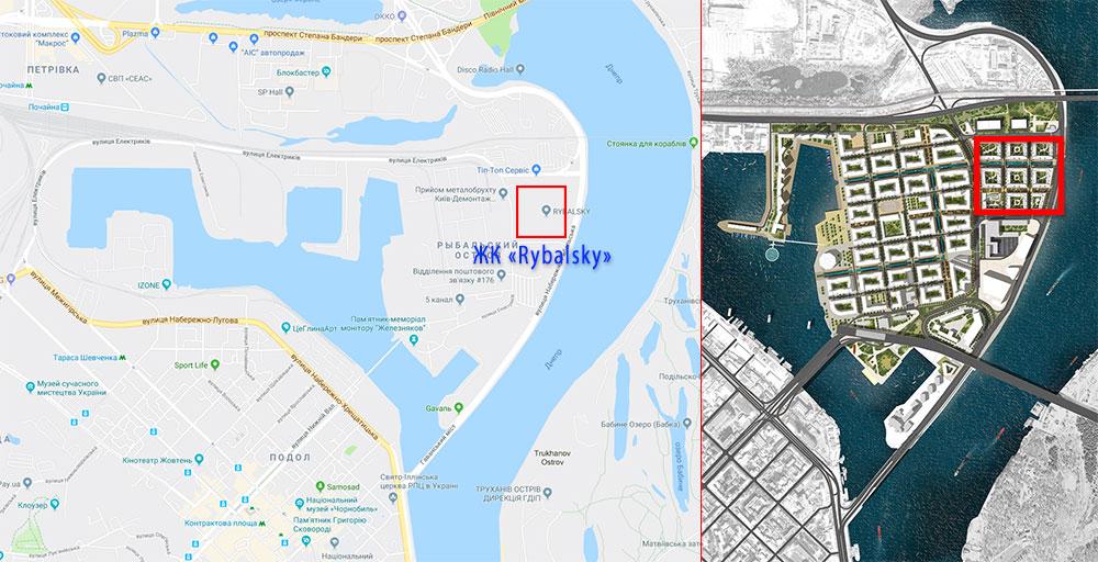 Адрес жилого комплекса «Rybalsky» (Рыбальский, Рыбацкий, Рыбальскай)