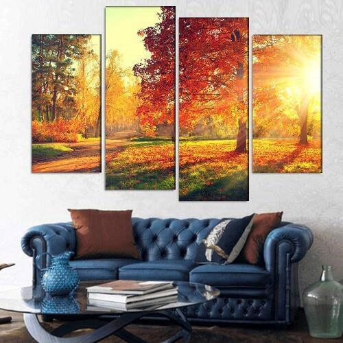 Сегодня популярность набирают модульные картины в интерьере гостиной